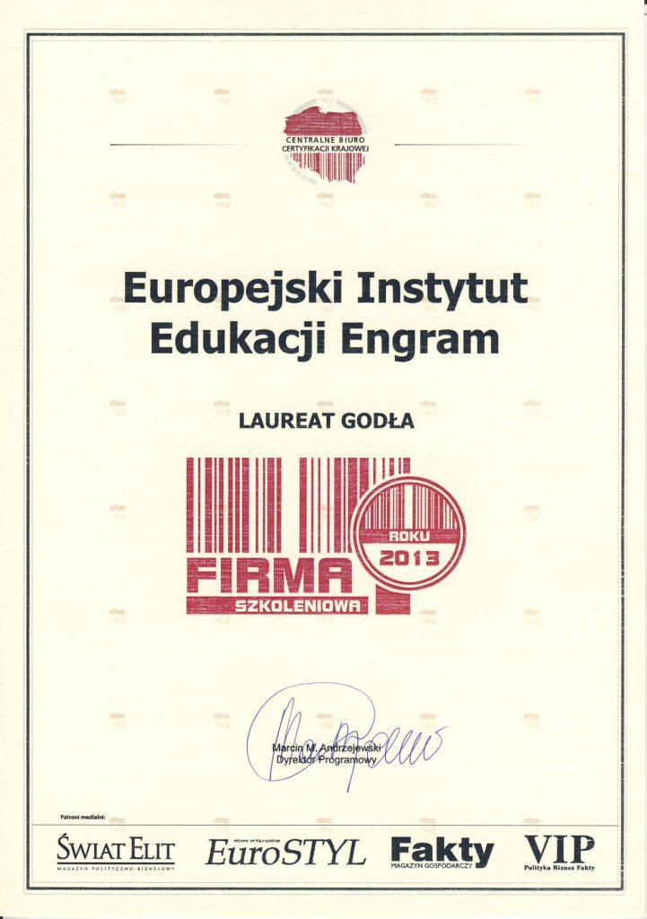 EIE Engram Laureatem Godła Firma Szkoleniowa Roku 2013
