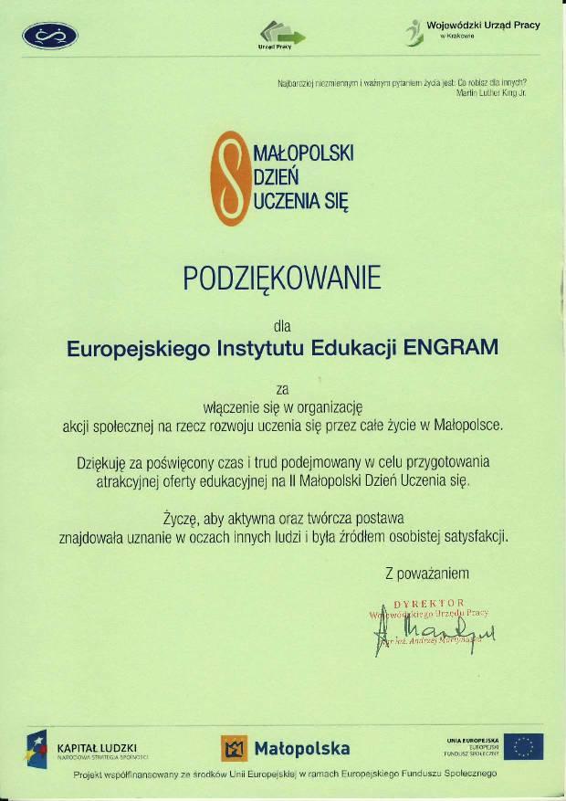 Wojewódzki Urząd Pracy w Krakowie – podziękowanie