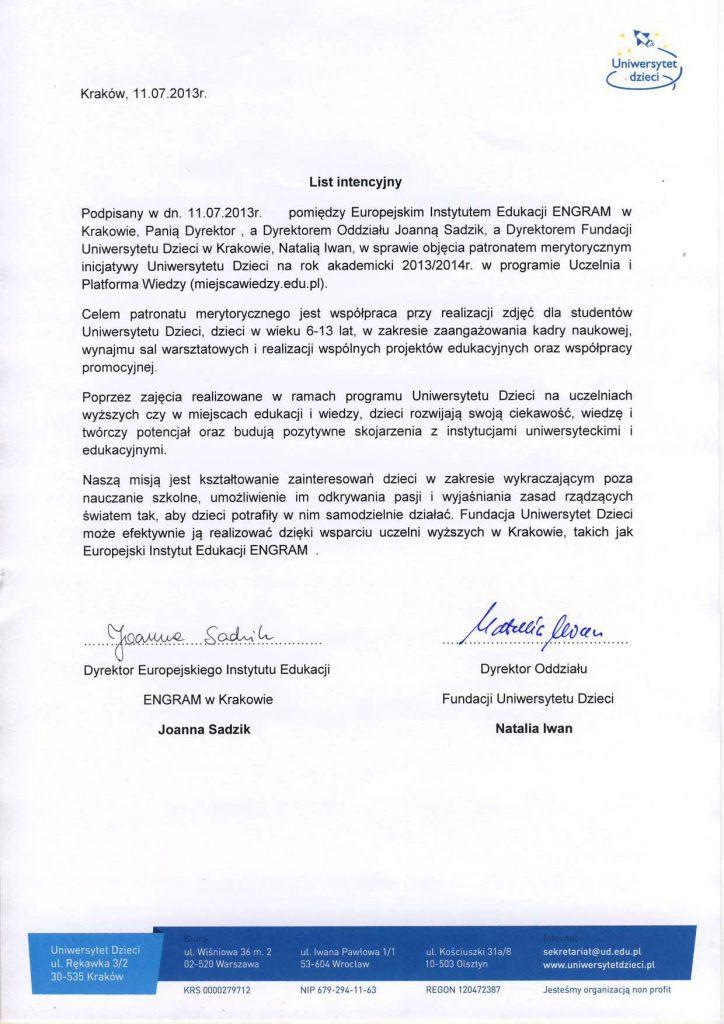 Patronat merytoryczny nad inicjatywami Uniwersytetu Dzieci na rok akademicki 2013/2014