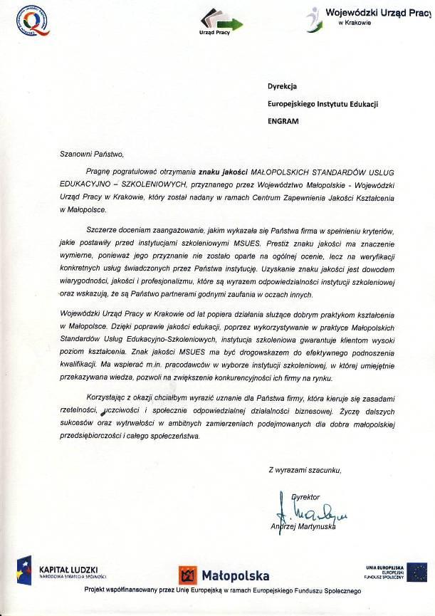 Znak Jakości – podziękowanie od Wojewódzkiego Urzędu Pracy w Krakowie