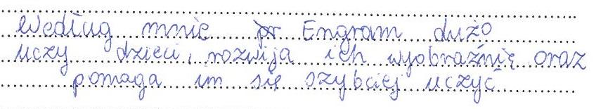 Opinia dziecka z grupy Milanówek 1 (2)